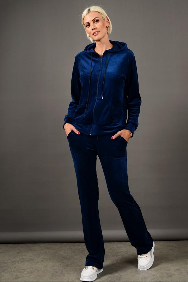 Σετ φόρμα βελουτέ ζακέτα με κουκούλα και παντελόνι με τσέπες μπλε σκούρο