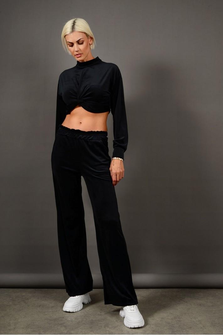 Σετ φόρμα βελουτέ τοπ με παντελόνι μαύρο Limited Edition