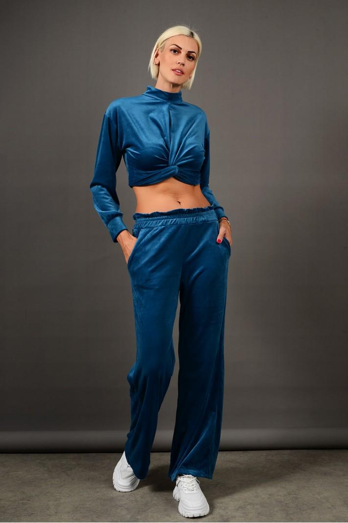Σετ φόρμα βελουτέ τοπ με παντελόνι πετρόλ Limited Edition