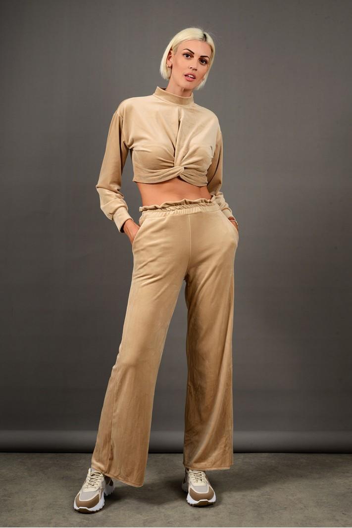 Σετ φόρμα βελουτέ τοπ με παντελόνι μπεζ Limited Edition