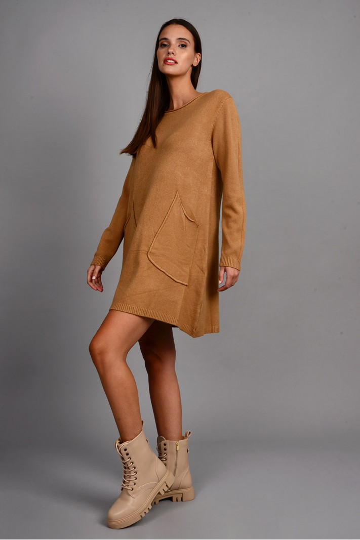 Oversized μπλούζα/φόρεμα πλεκτό με τσέπες κάμελ