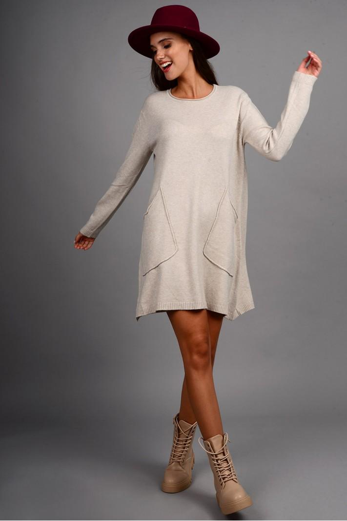 Oversized μπλούζα/φόρεμα πλεκτό με τσέπες μπεζ