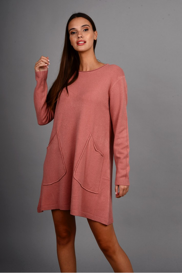 Oversized μπλούζα/φόρεμα πλεκτό με τσέπες σάπιο μήλο