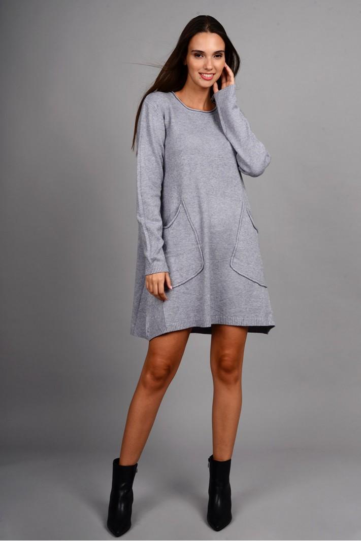 Oversized μπλούζα/φόρεμα πλεκτό με τσέπες γκρι