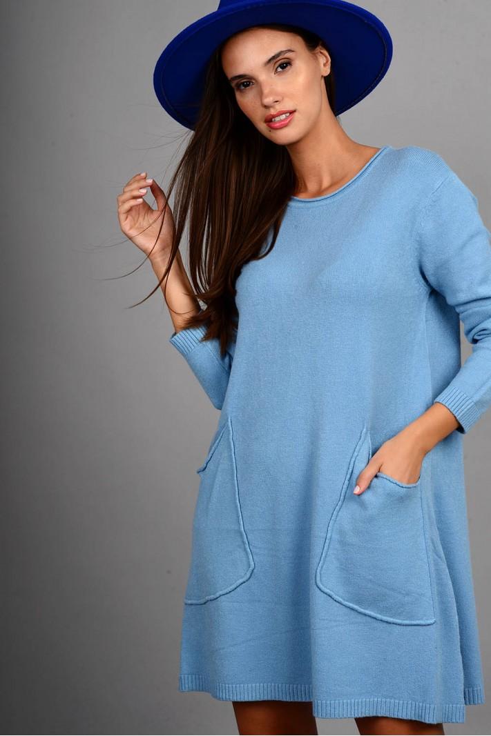 Oversized μπλούζα/φόρεμα πλεκτό με τσέπες μπλε ανοιχτό
