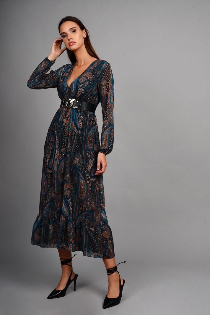 Φόρεμα μίντι εμπριμέ με κρουαζέ στήθος πετρόλ Limited Edition