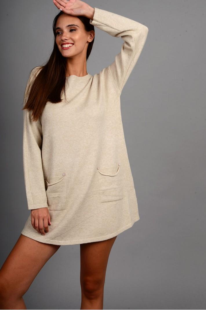 Oversized μπλούζα/φόρεμα πλεκτό με κουμπιά στις τσέπες μπεζ