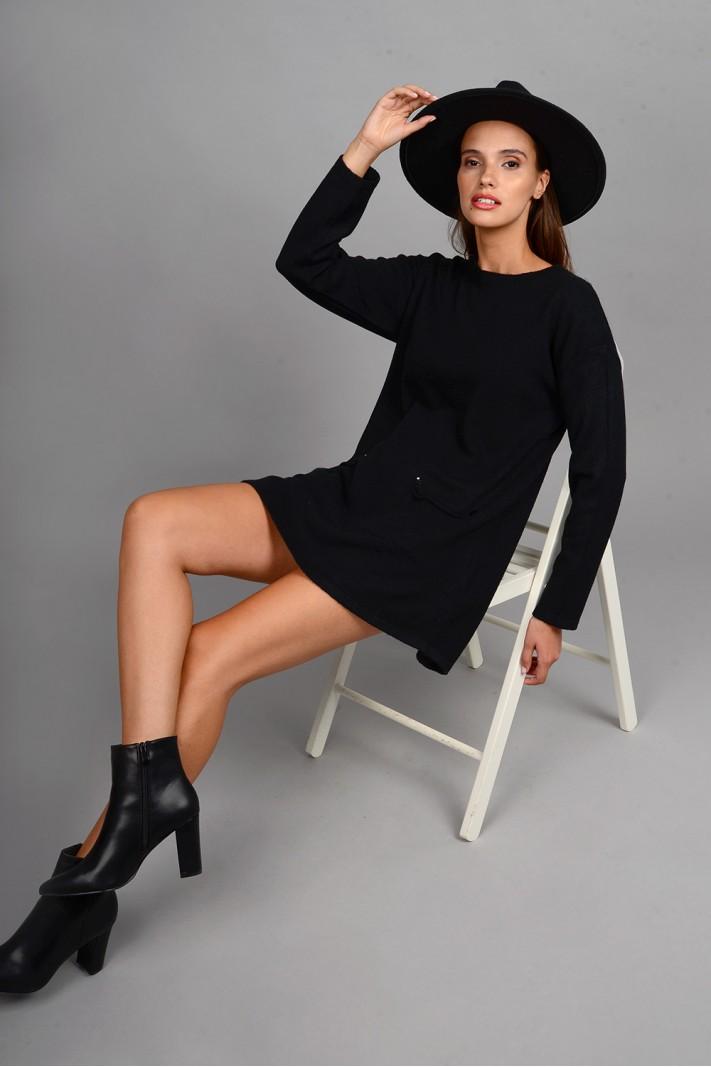 Oversized μπλούζα/φόρεμα πλεκτό με κουμπιά στις τσέπες μαύρο