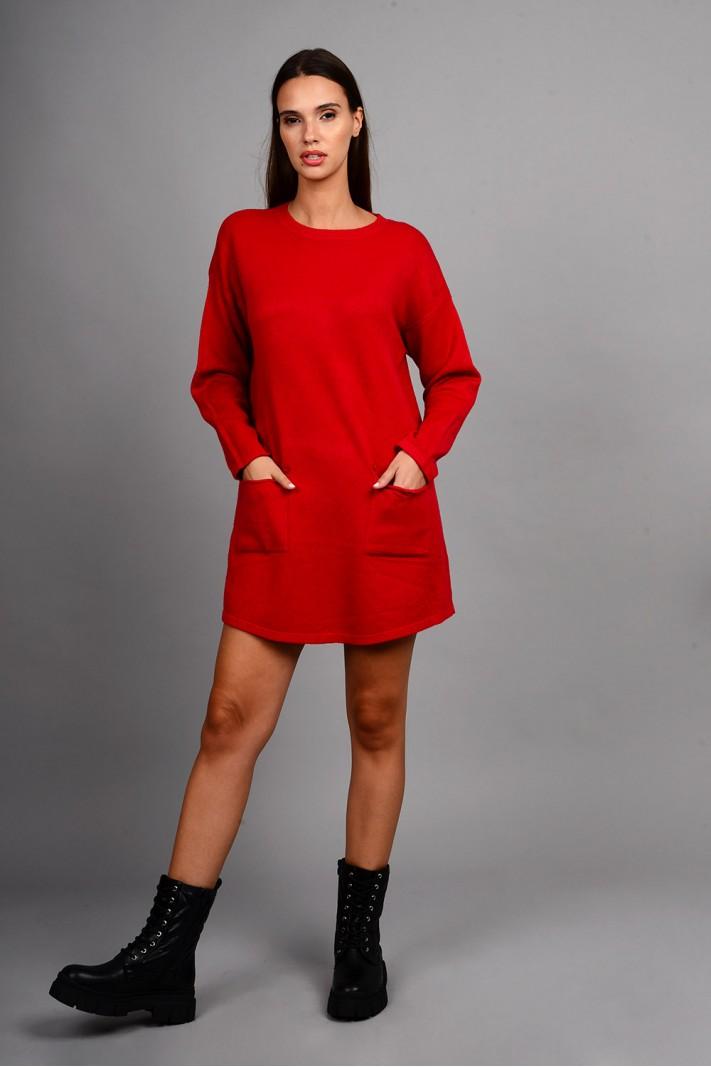 Oversized μπλούζα/φόρεμα πλεκτό με κουμπιά στις τσέπες κόκκινο