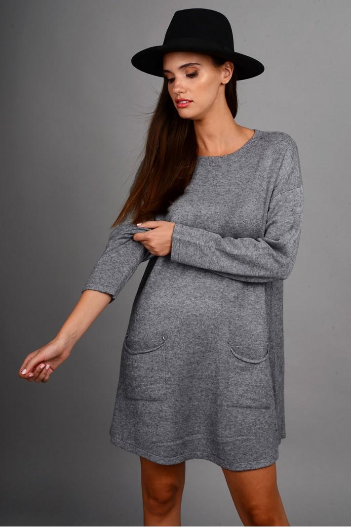 Oversized μπλούζα/φόρεμα πλεκτό με κουμπιά στις τσέπες γκρι
