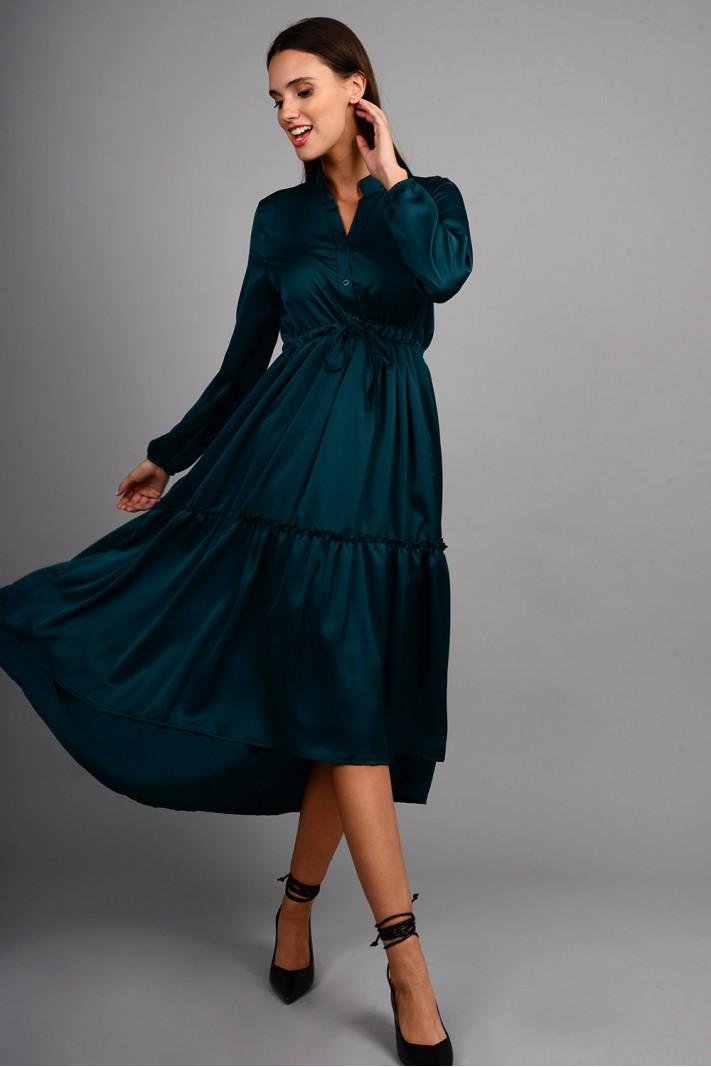 Φόρεμα μίντι ασύμμετρο με κουμπιά και βολάν πετρόλ Limited Edition