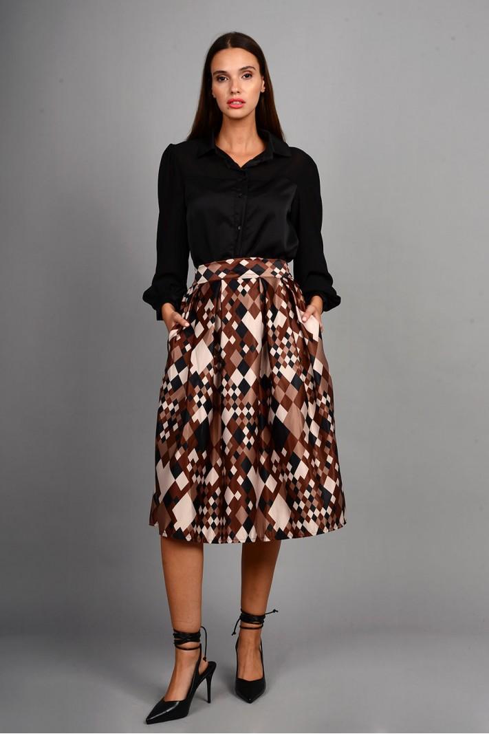 Φούστα μίντι εμπριμέ με τσέπες σε άλφα γραμμή καφέ Limited Edition