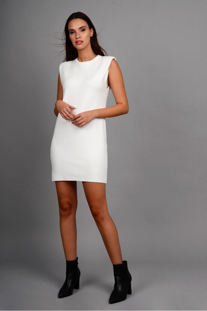 Φόρεμα μίντι πλεκτό αμάνικο με μεταλλικά κουμπιά εκρού