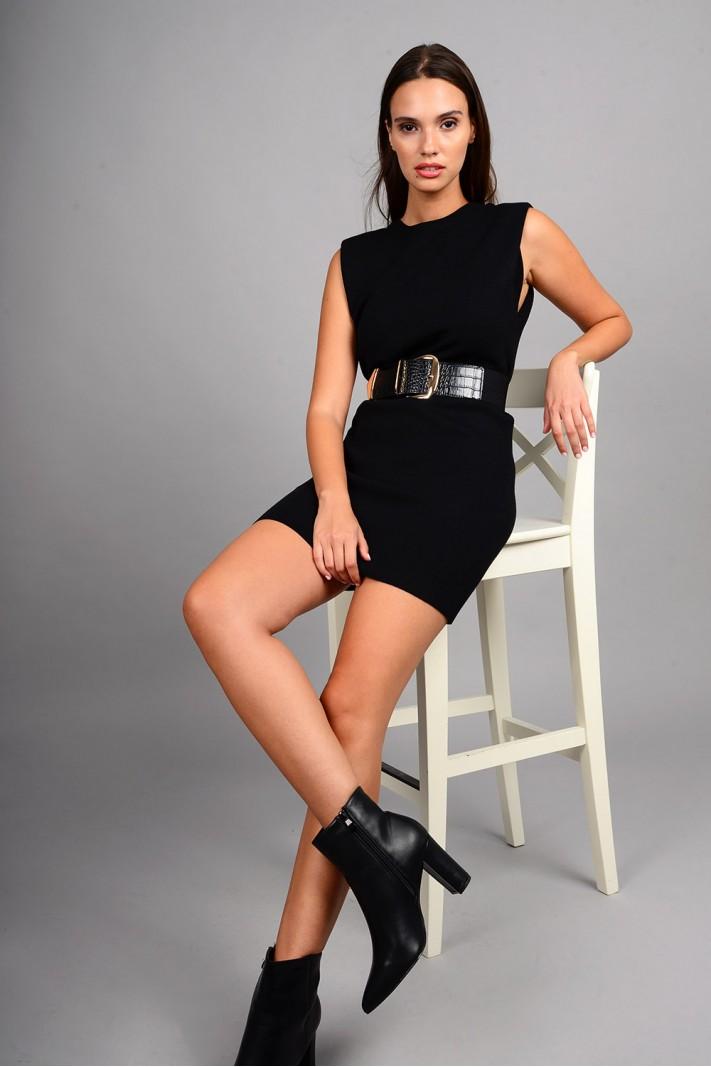 Φόρεμα μίντι πλεκτό αμάνικο με μεταλλικά κουμπιά μαύρο