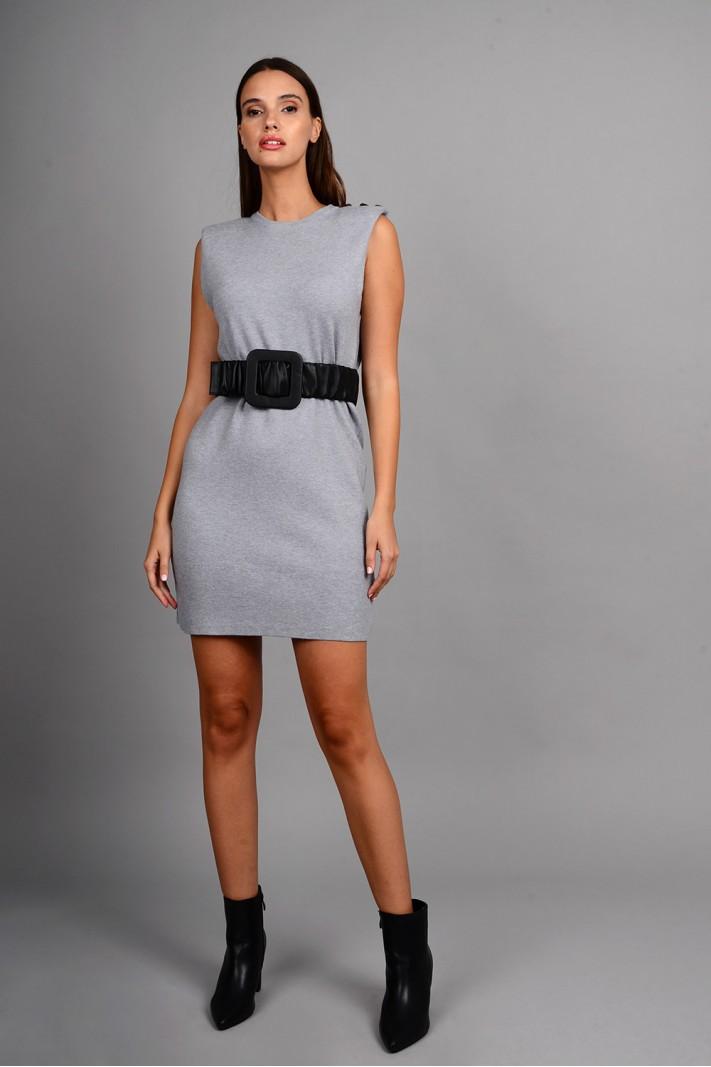 Φόρεμα μίντι πλεκτό αμάνικο με μεταλλικά κουμπιά γκρι