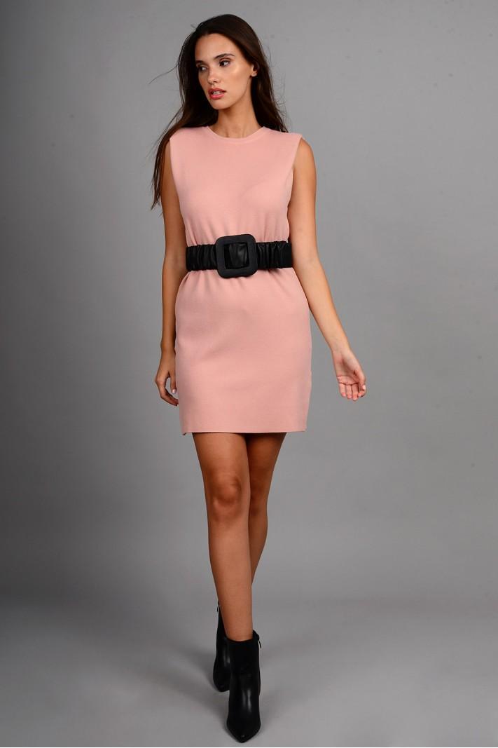 Φόρεμα μίντι πλεκτό αμάνικο με μεταλλικά κουμπιά ροζ
