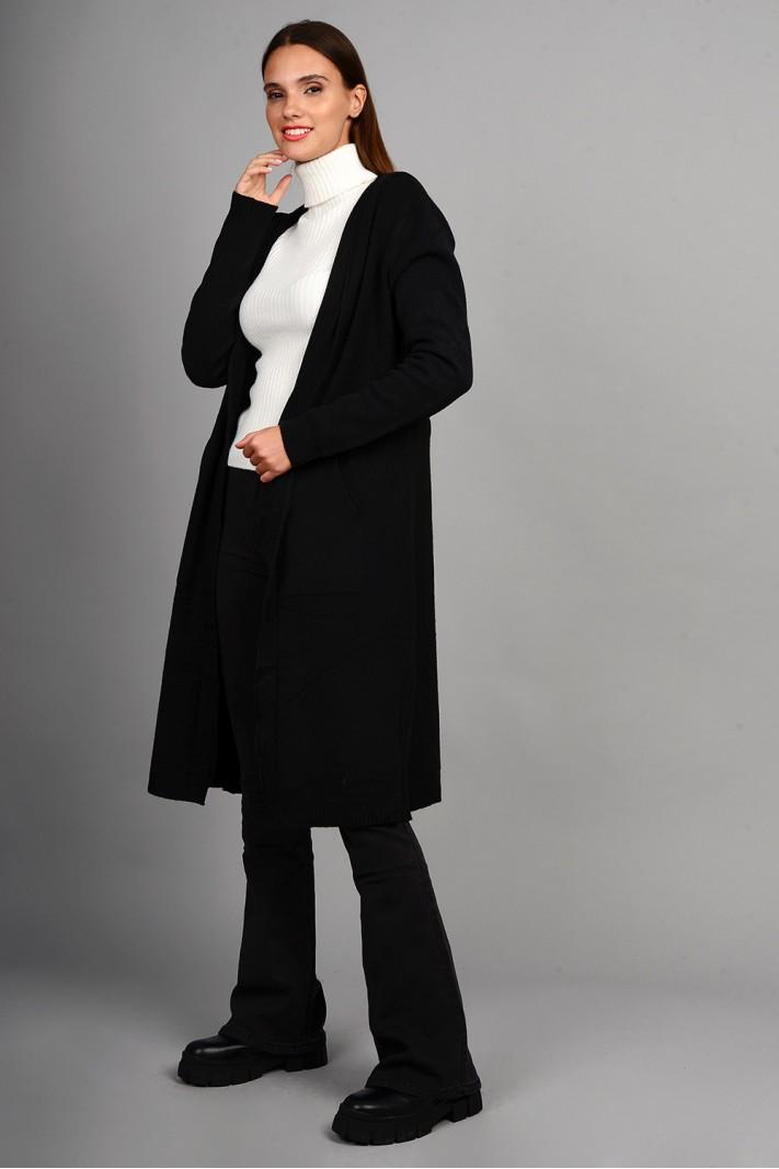 Oversized ζακέτα πλεκτή μακριά με κουκούλα και τσέπες μαύρη