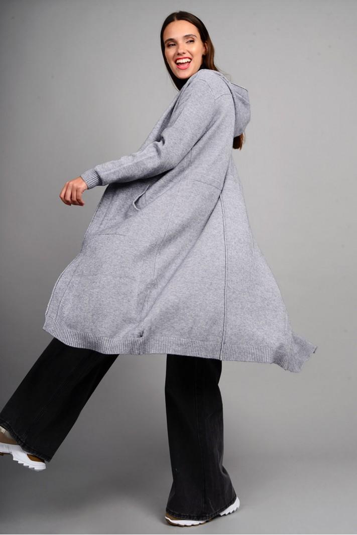 Oversized ζακέτα πλεκτή μακριά με κουκούλα και τσέπες γκρι