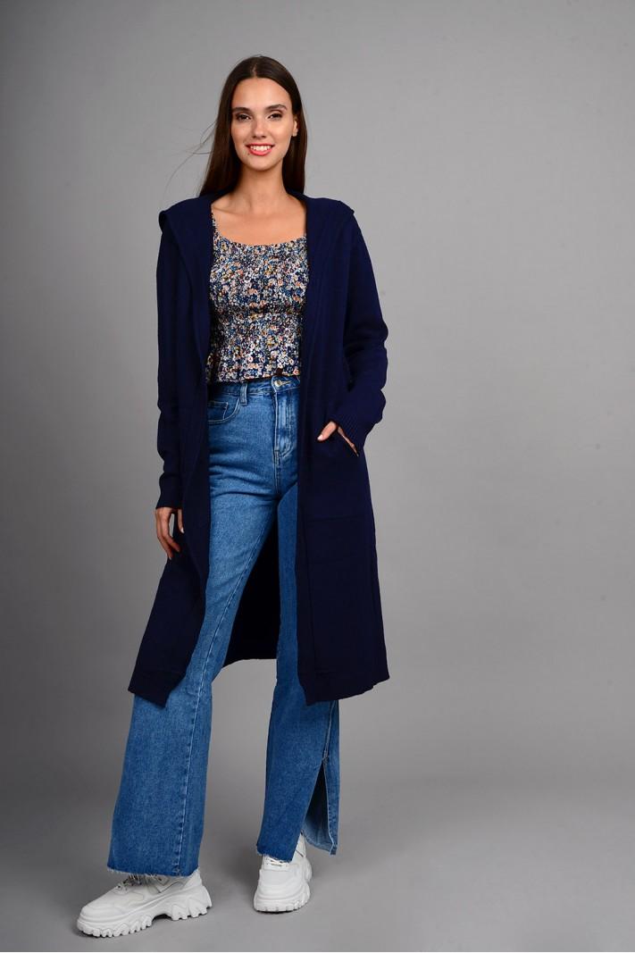 Oversized ζακέτα πλεκτή μακριά με κουκούλα και τσέπες μπλε σκούρο