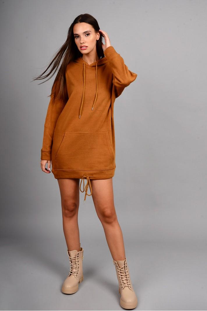 Oversized μπλούζα/φόρεμα φούτερ με κουκούλα και τσέπες κάμελ