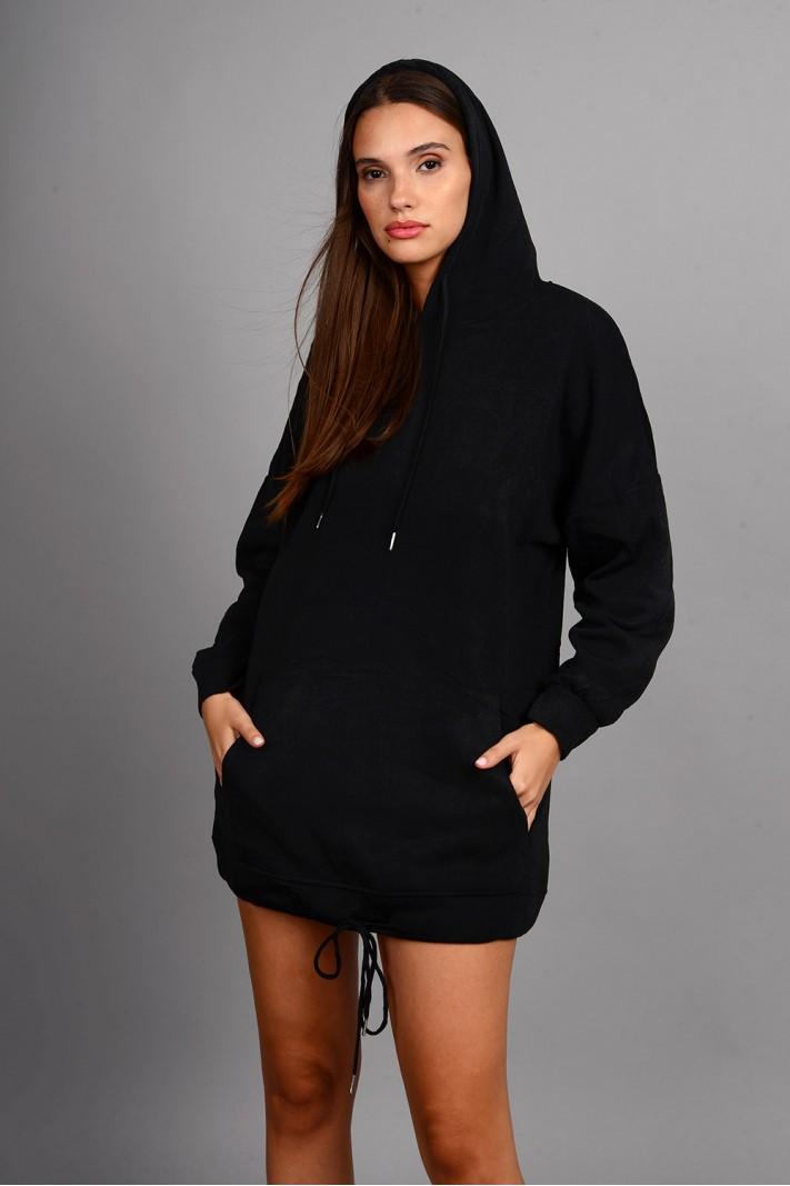Oversized μπλούζα/φόρεμα φούτερ με κουκούλα και τσέπες μαύρο