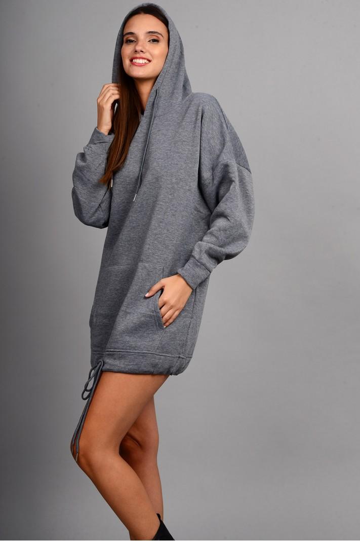 Oversized μπλούζα/φόρεμα φούτερ με κουκούλα και τσέπες γκρι