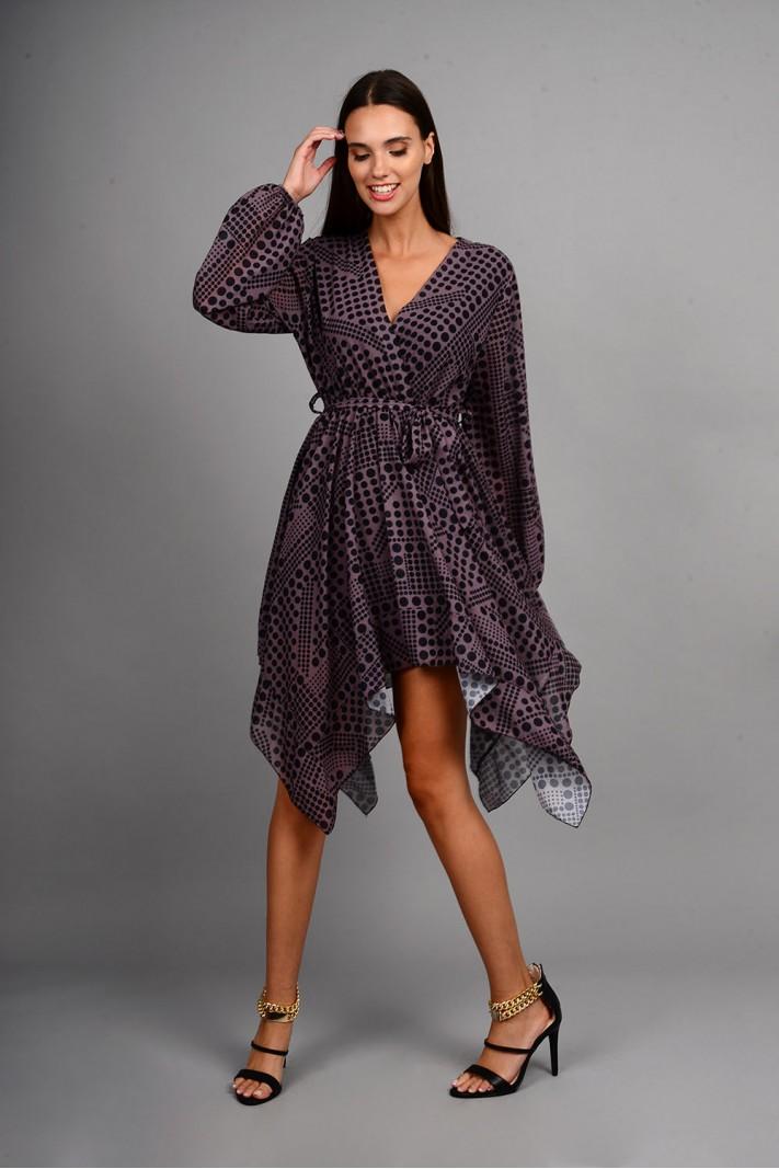 Φόρεμα μίντι ασύμμετρο με σχέδιο κύκλους καφέ/μαύρο Limited Edition