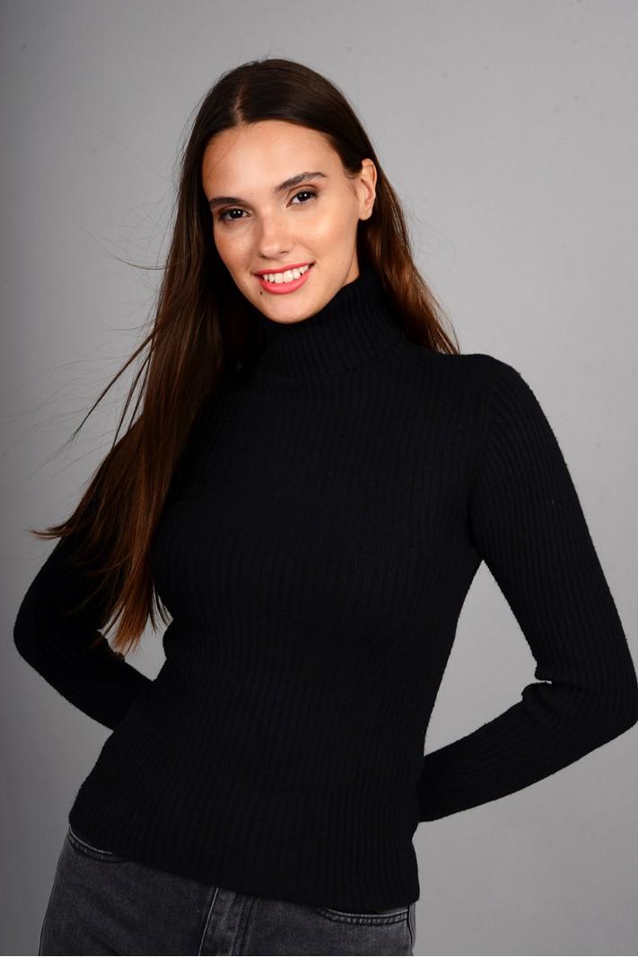 Μπλούζα rib πλεκτή με όρθιο γιακά μαύρη