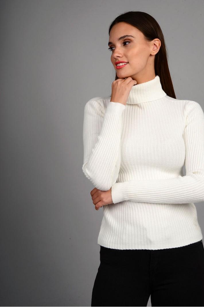 Μπλούζα rib πλεκτή με όρθιο γιακά εκρού