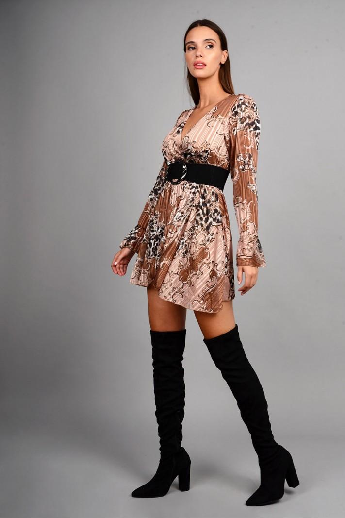 Φόρεμα κοντό εμπριμέ καφέ Limited Edition