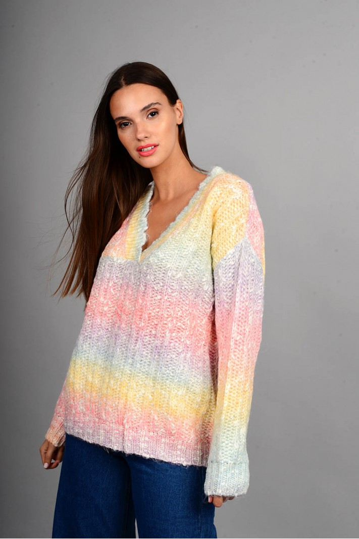 Oversized πουλόβερ rainbow με v λαιμό ροζ Limited Edition