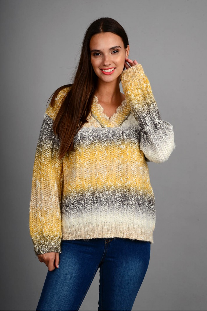 Oversized πουλόβερ rainbow με v λαιμό μουσταρδί Limited Edition