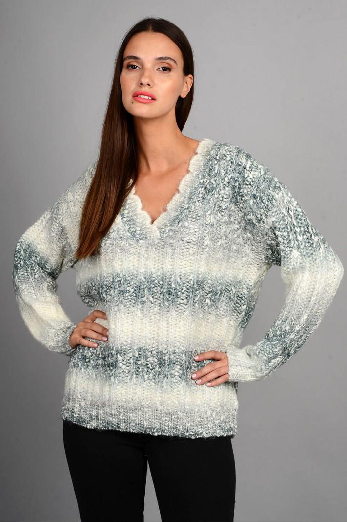 Oversized πουλόβερ rainbow με v λαιμό γκρι Limited Edition
