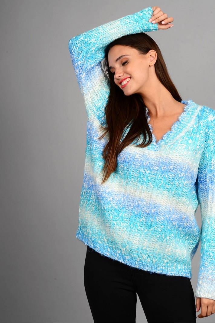 Oversized πουλόβερ rainbow με v λαιμό μπλε Limited Edition