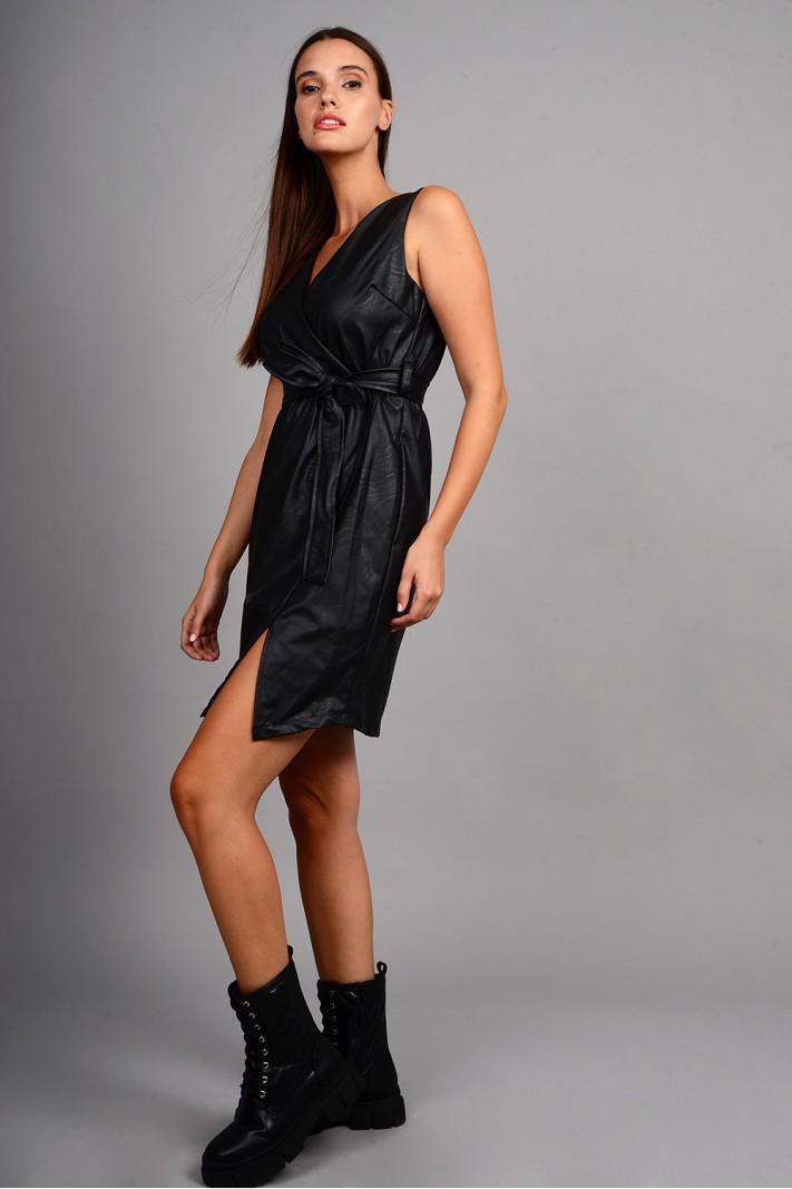 Φόρεμα μίντι δερματίνη αμάνικο με ζώνη μαύρο Limited Edition
