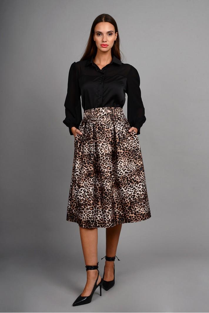 Φούστα μίντι animal print με τσέπες σε άλφα γραμμή καφέ Limited Edition