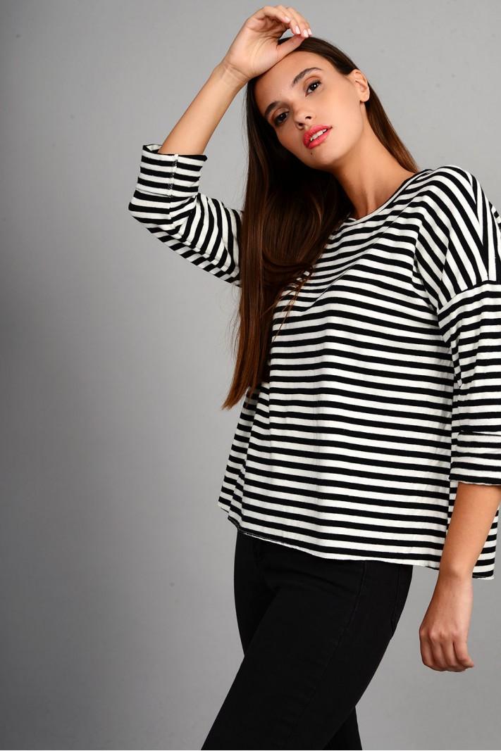 Oversized μπλούζα πλεκτή ριγέ άσπρο/μαύρο
