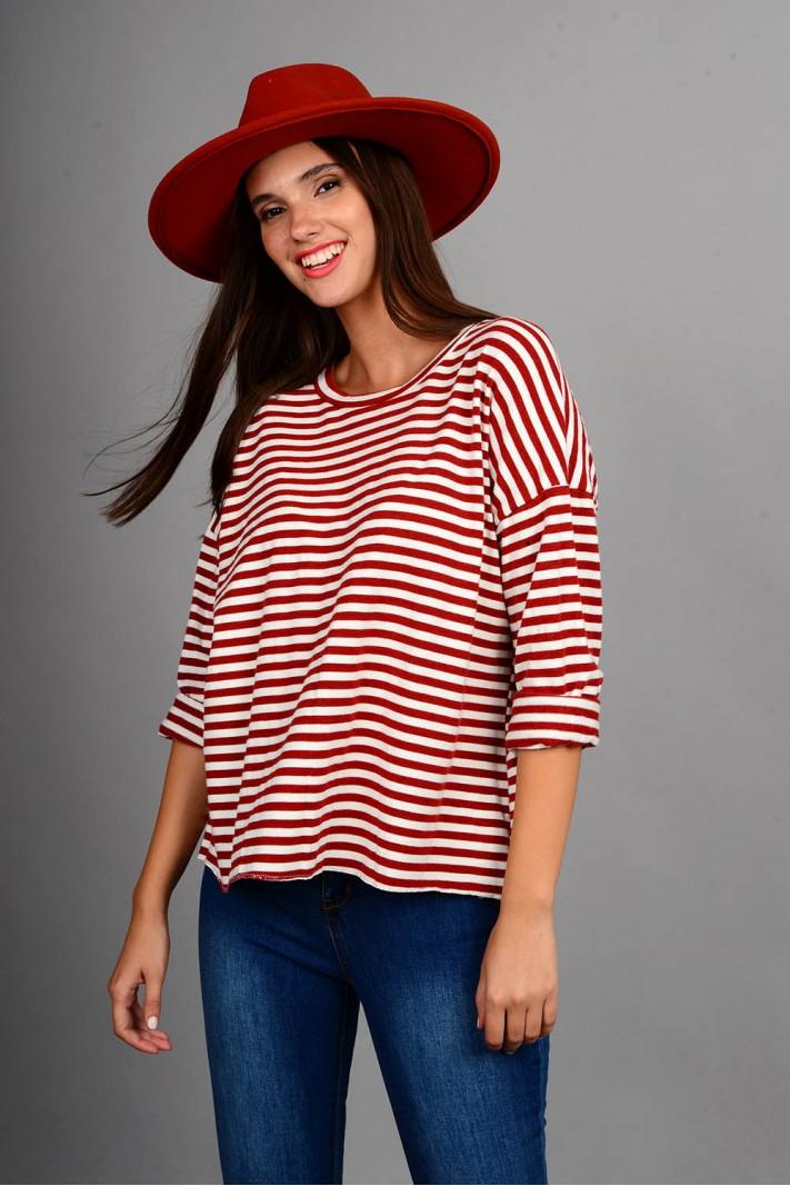 Oversized μπλούζα πλεκτή ριγέ άσπρο/κόκκινο
