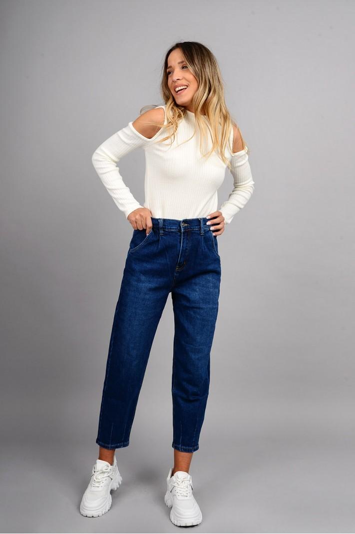 Παντελόνι τζιν mum fit ψηλόμεσο μπλε