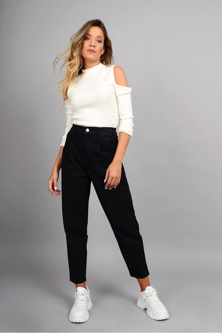 Παντελόνι τζιν mum fit ψηλόμεσο μαύρο