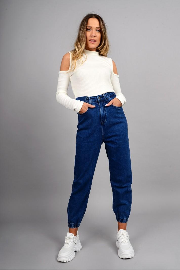 Παντελόνι τζιν loose style ψηλόμεσο με λάστιχο μπλε