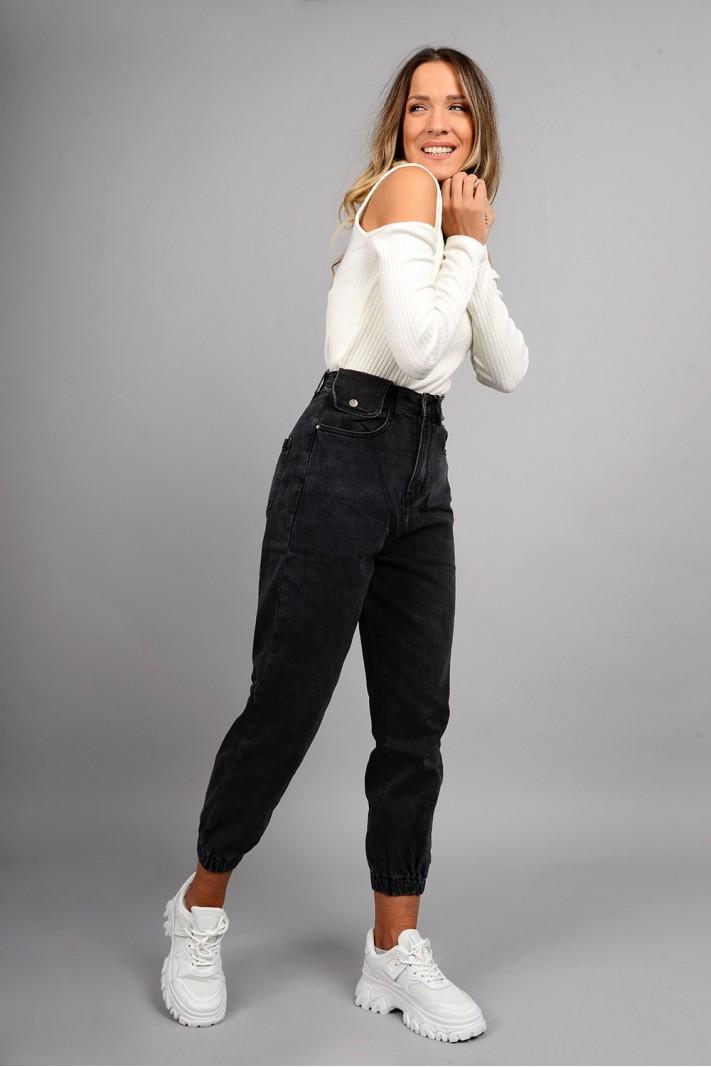 Παντελόνι τζιν loose style ψηλόμεσο με λάστιχο γκρι σκούρο