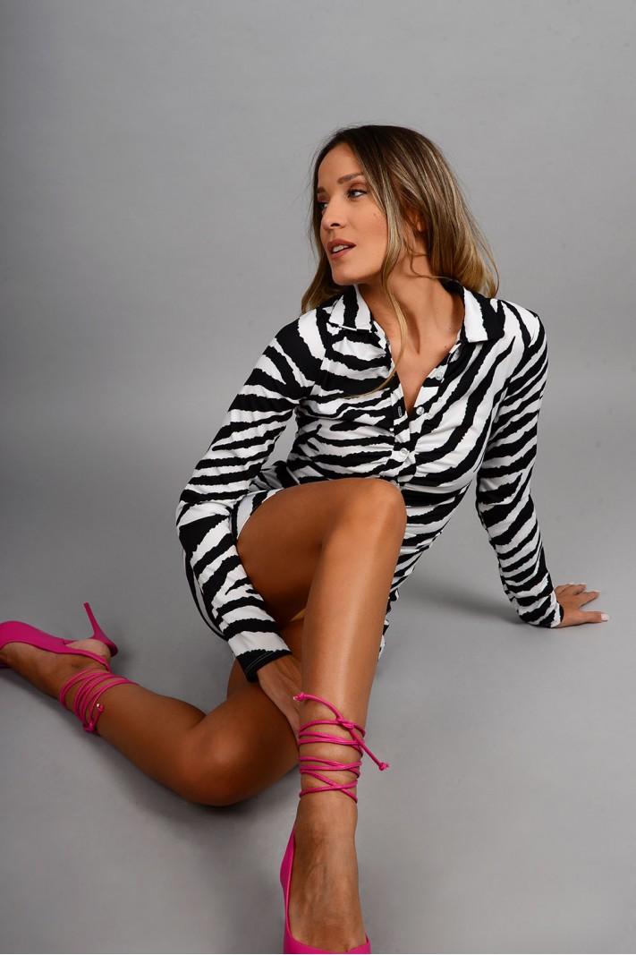 Σεμιζιέ/Φόρεμα animal print slim fit με σούρες άσπρο/μαύρο Limited Edition