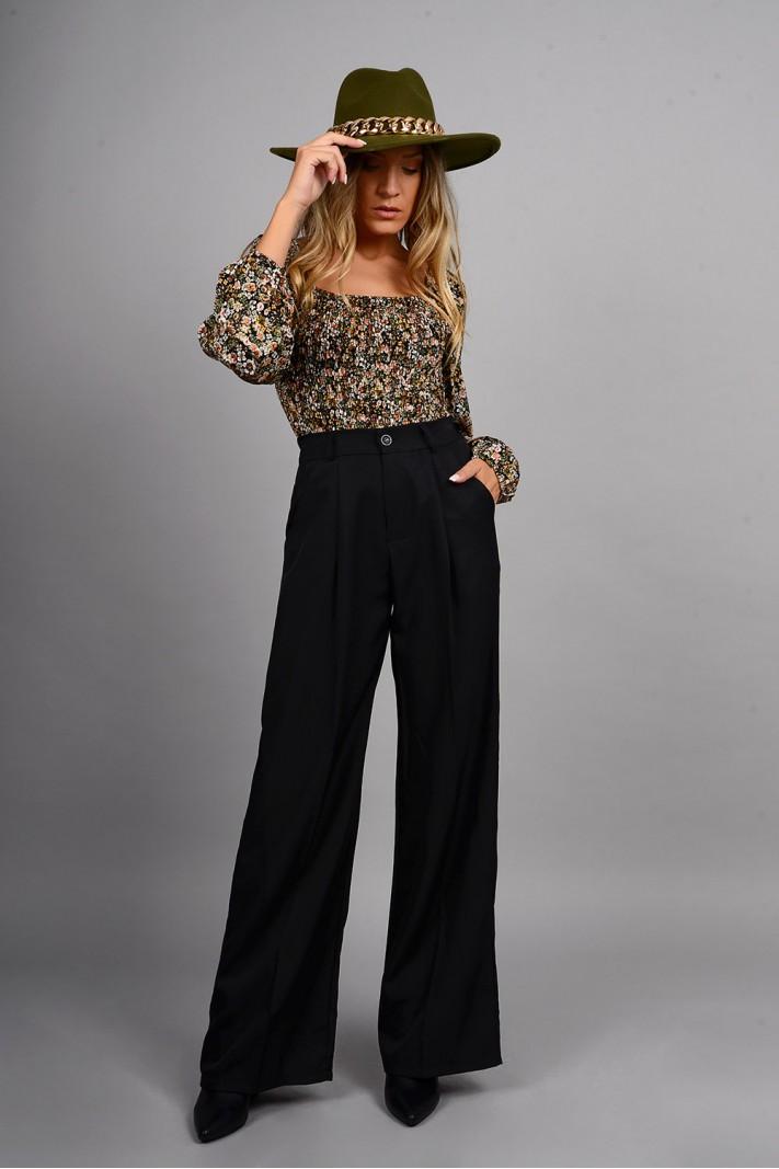 Παντελόνα ψηλόμεση με τσέπες και λάστιχο μαύρη