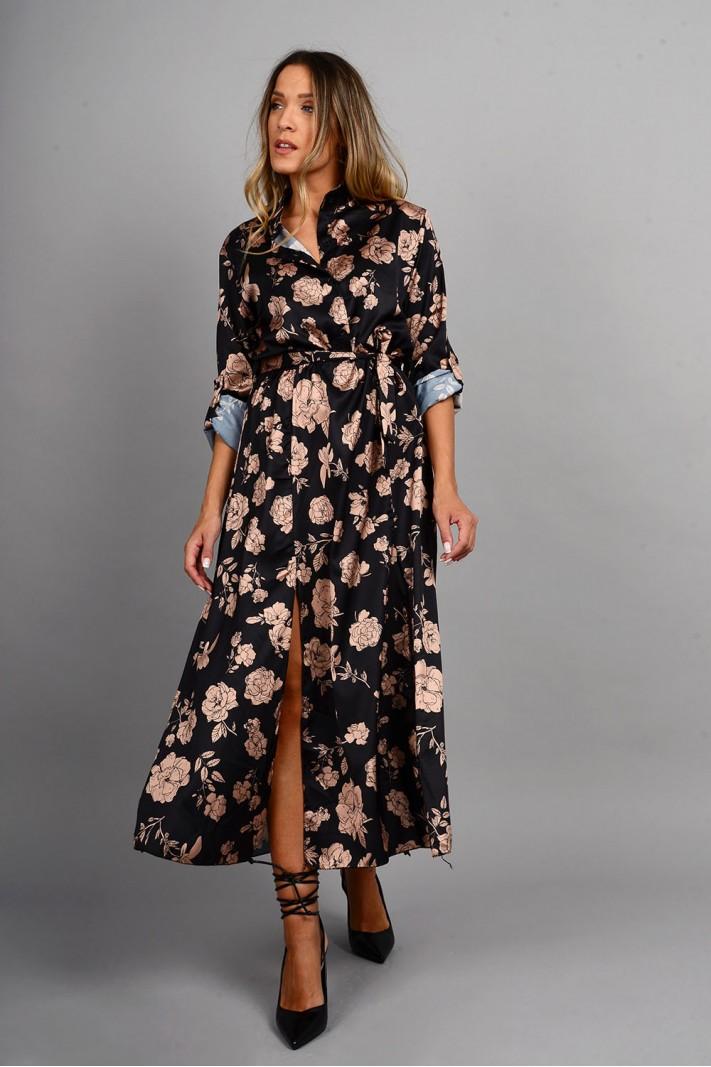 Φόρεμα μίντι φλοράλ με κουμπιά και ζώνη μαύρο Limited Edition