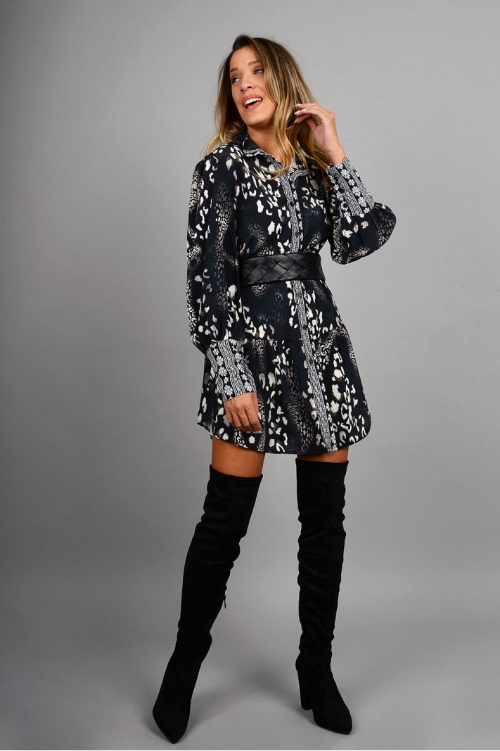 Σεμιζιέ/Φόρεμα animal print με ζώνη μαύρο/άσπρο Limited Edition
