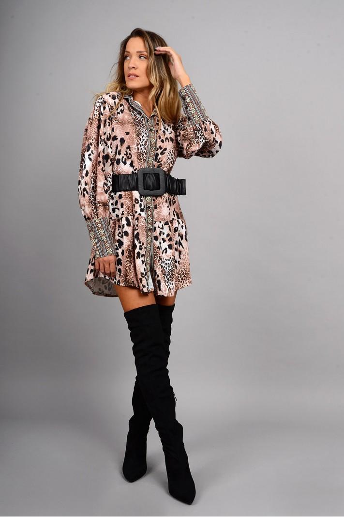 Σεμιζιέ/Φόρεμα animal print με ζώνη μπεζ/καφέ Limited Edition