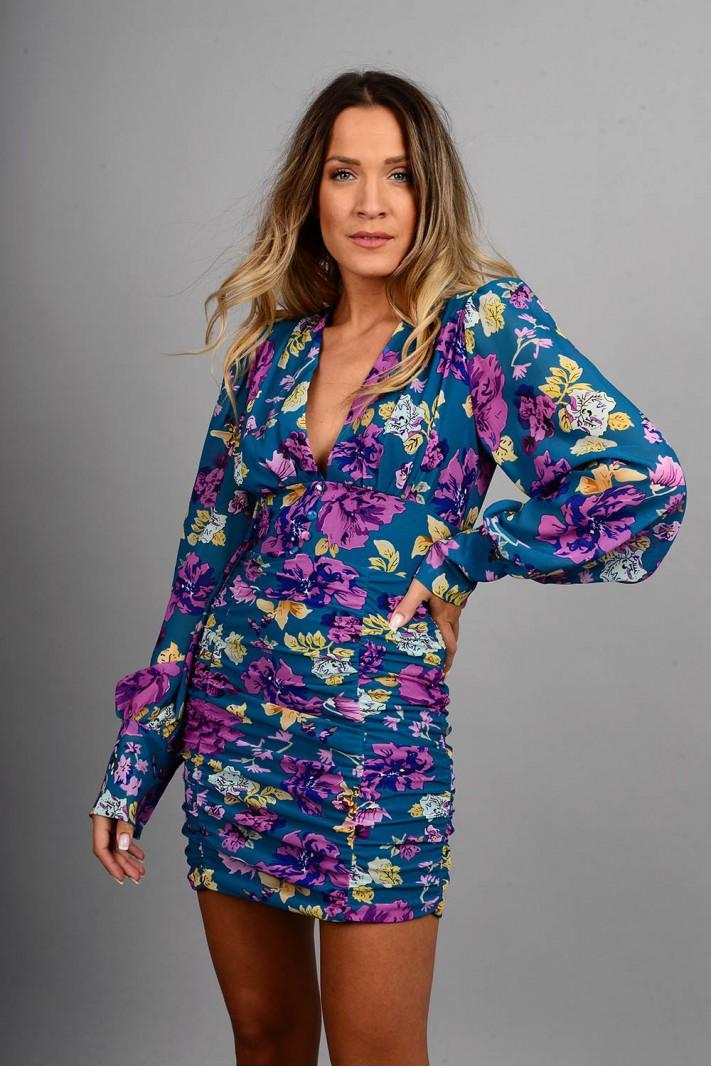 Φόρεμα κοντό φλοράλ slim fit με σούρες πετρόλ Limited Edition