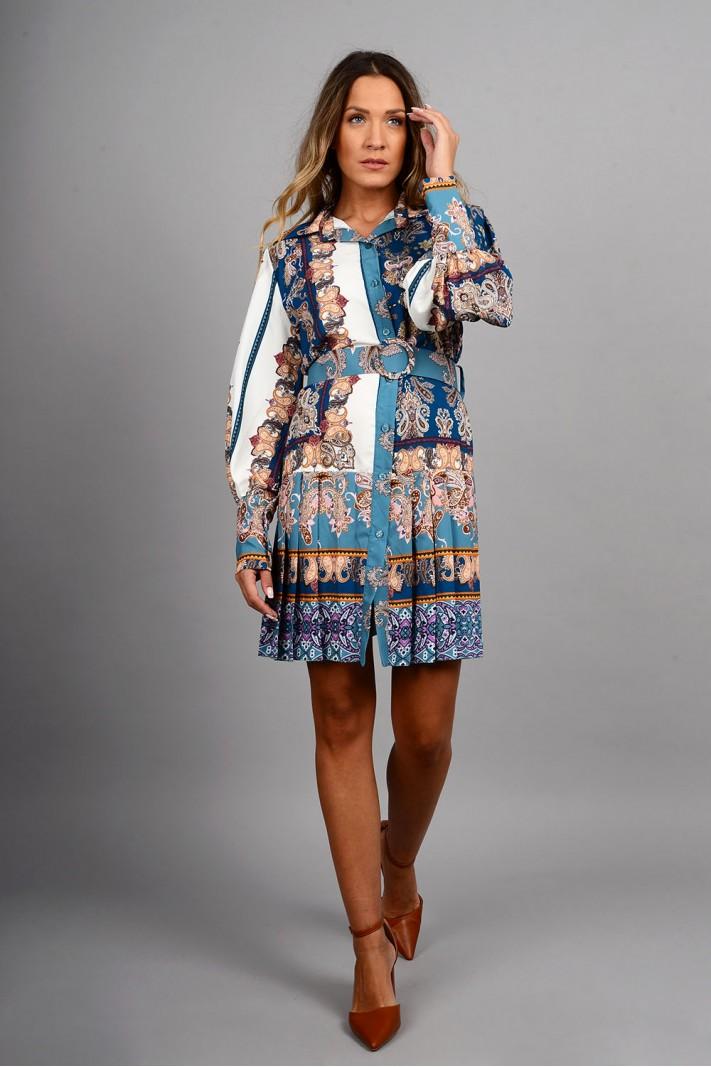 Σεμιζιέ/Φόρεμα φλοράλ με φαρδιά ζώνη μπλε Limited Edition
