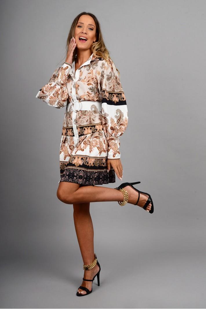 Σεμιζιέ/Φόρεμα φλοράλ με φαρδιά ζώνη μπεζ Limited Edition